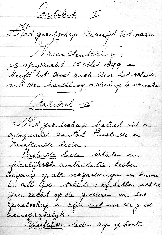Ons eerste originele reglement. Deze stamt van voor 1936.